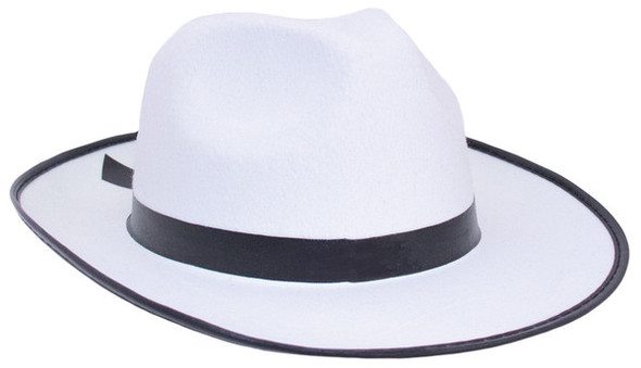 Gangster Hat White Wide Brim Felt Fedora | White Gangster Hats