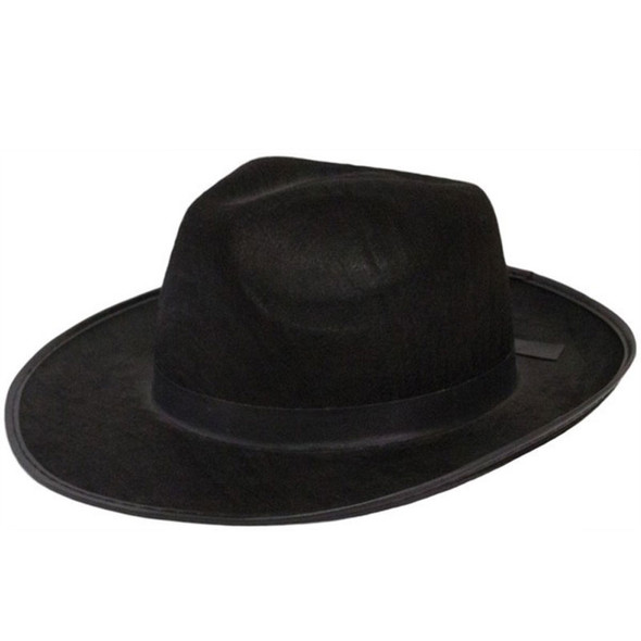 Mens Wide Brim Fedora Hats | Black Wide Brim Hat | Flat Brim Fedora