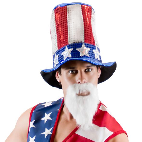 Uncle Sam Glitter Top Hat 1355