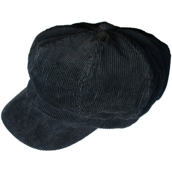 Black Corduroy Newsboy Cap  Adult  1411