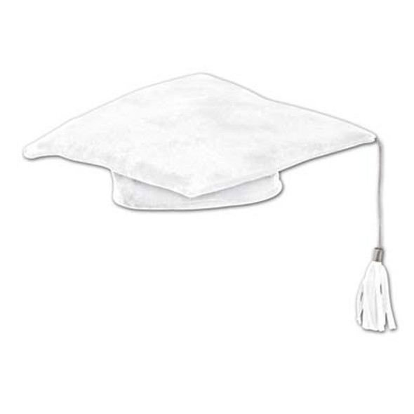 White Plush Graduation Hat 1487