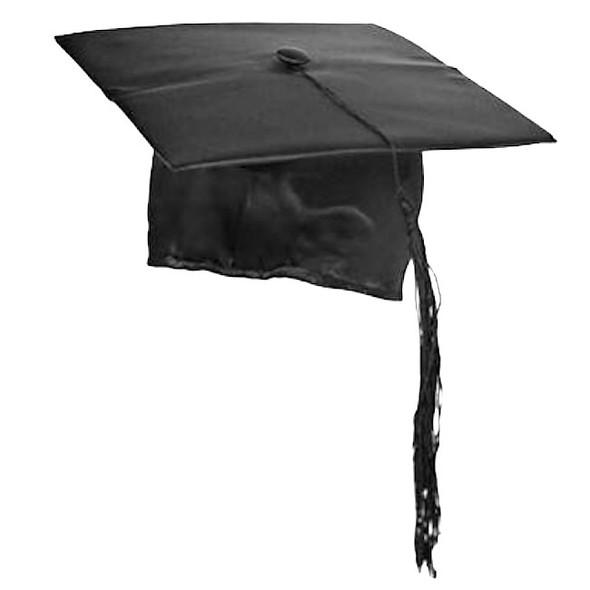 Black Satin Graduation Hat | Graduation Cap | 1494