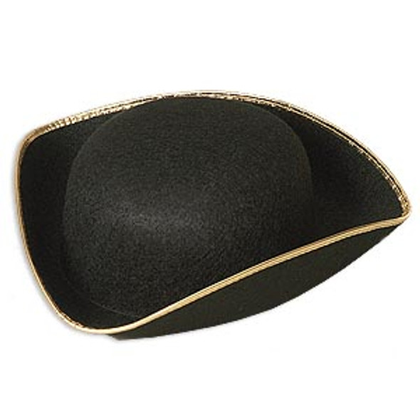 Tricorn  Hat Black Colonial with Gold Trim 1523
