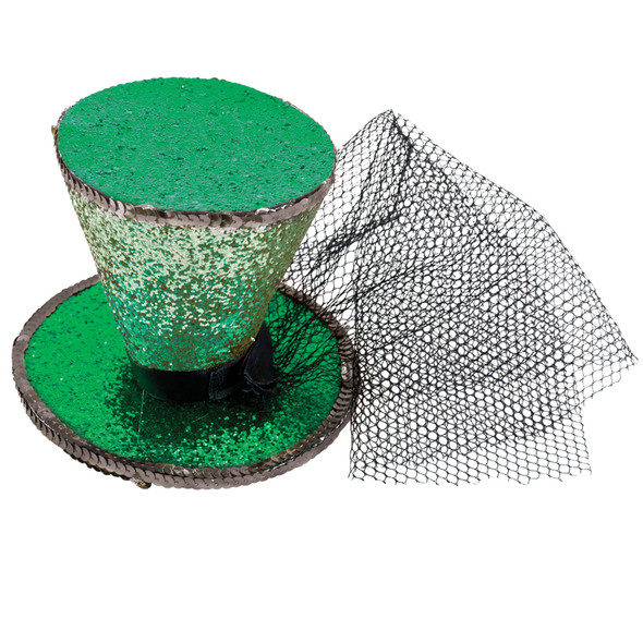 Green Glitter Mini Top Hat with Veil 5850