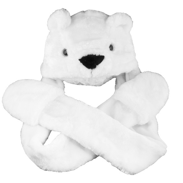 Long Polar Bear Hat with Paws/Mittens 5874