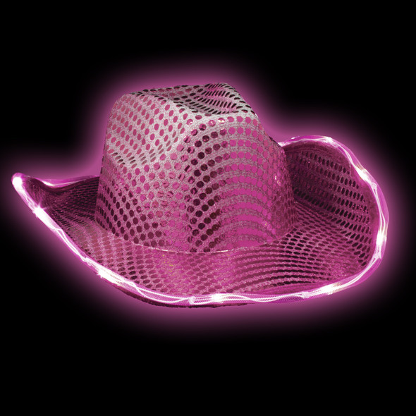 LED Pink Cowgirl Hat | Flashing Adult Size 22.5' 5890