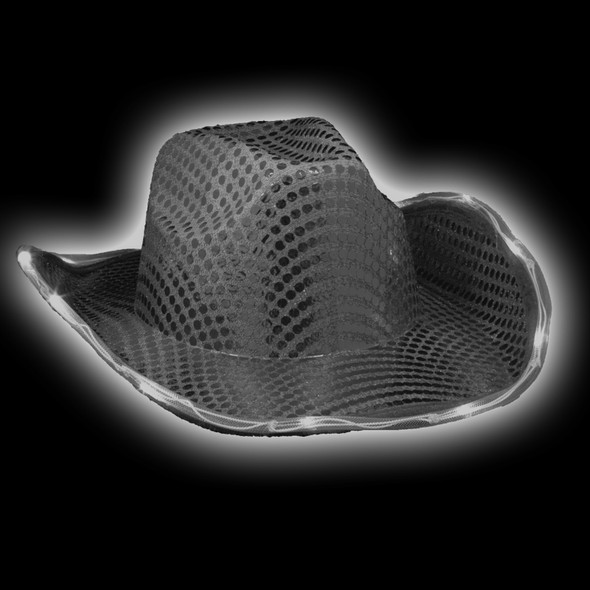 Black Flashing LED Sequin Cowboy Hat  22.5 Adult Size 5891