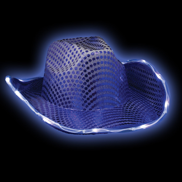 "Blue Flashing LED Sequin Cowboy Hat Adult 22.5""  5893"