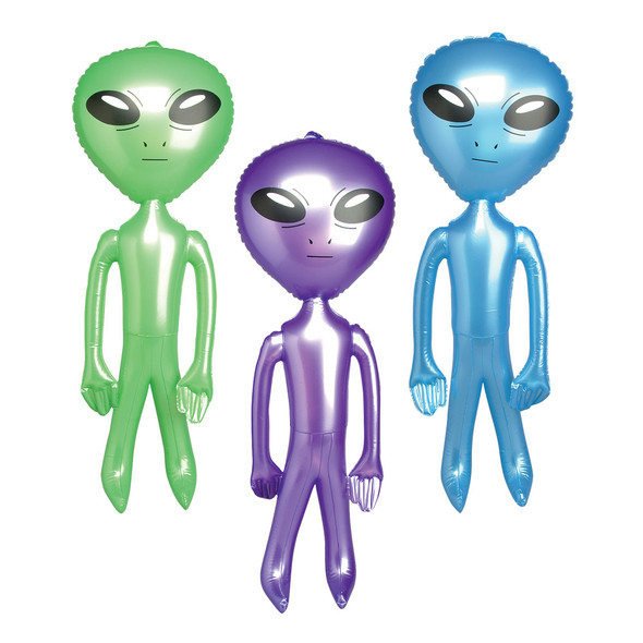 """Inflatable Aliens for Pool 12 PACK - JUMBO 24"""" Colors Blue, Green, Purple 1756-1758"""