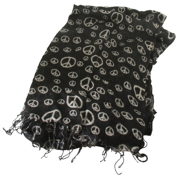Black Peace Sign Scarf 2010