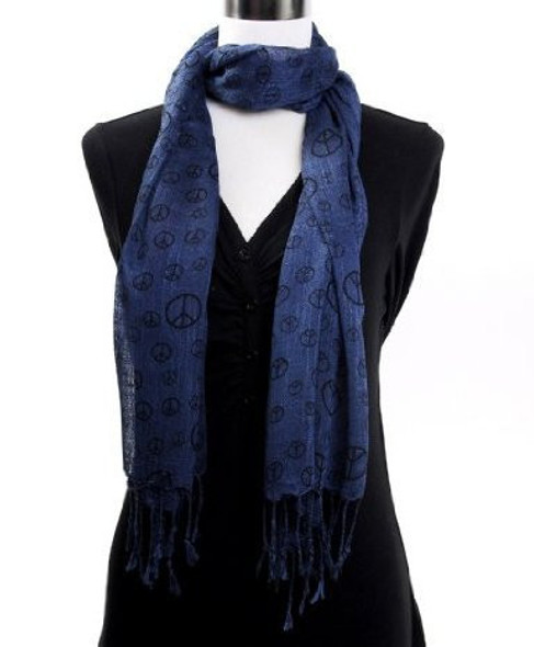 Peace Sign Scarf Navy Blue 2012