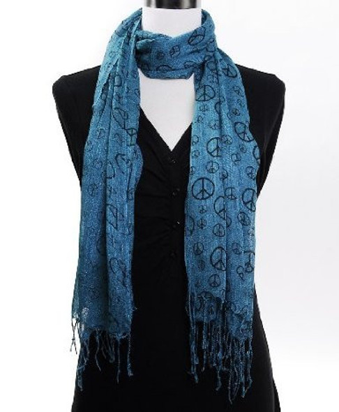 Turquoise Peace Sign Scarf 2014