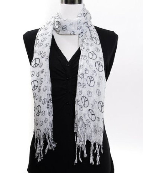 White Peace Sign Scarf 12 PACK 2015