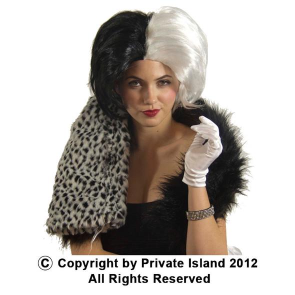 Wig Evil Mistress Black White 6033