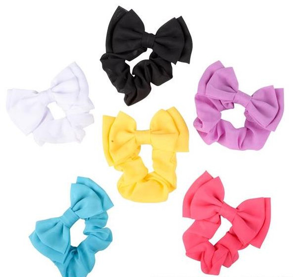 Scrunchies with Bow Mixed Colors 24 PACK 6660