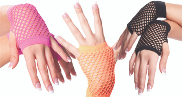 Fishnet Gloves Short Mix Colors 12 PACK 1235a