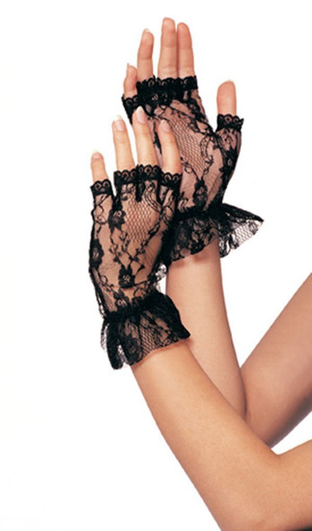 Sexy Fingerless Lace Gloves Black 5056