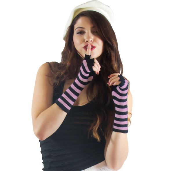 Knit Gloves Fingerless Stripe Black/Pink 5071