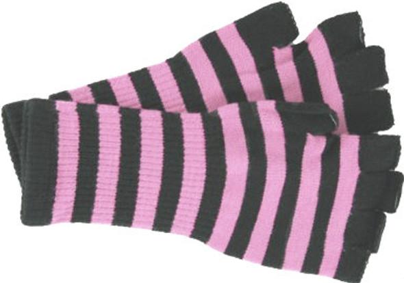 Knit Gloves Fingerless Stripe Black/Pink 5071