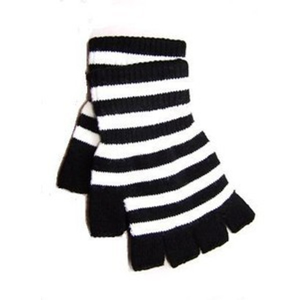 Fingerless Knit Gloves Stripe Black White 5074