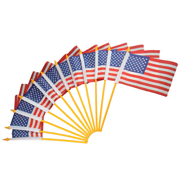 Plastic American Flags 4x6 12 PACK 9034