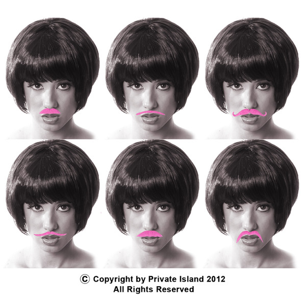 12 PACK Pink Party Bulk Fake Mustaches  9039