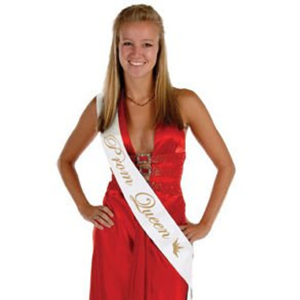 "White Satin Prom Queen Sash | 60"" 6851"