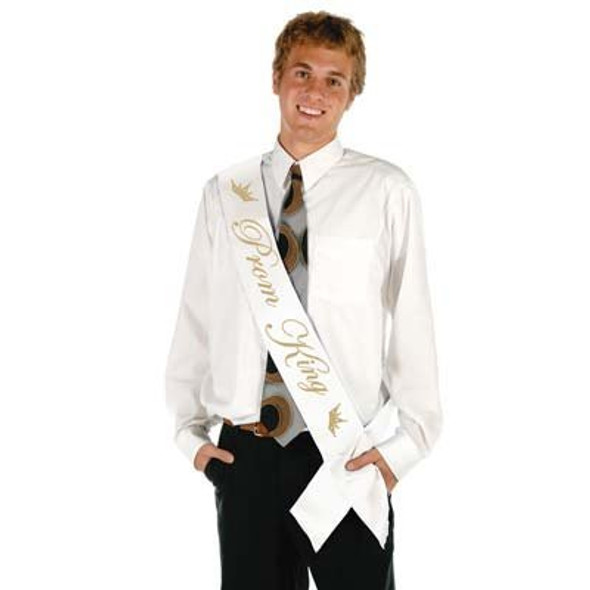 "White Satin Prom King Sash | 60"" 6852"