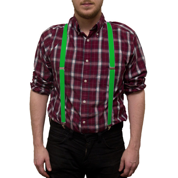 Irish St Patricks Kelly Green Suspenders 6872