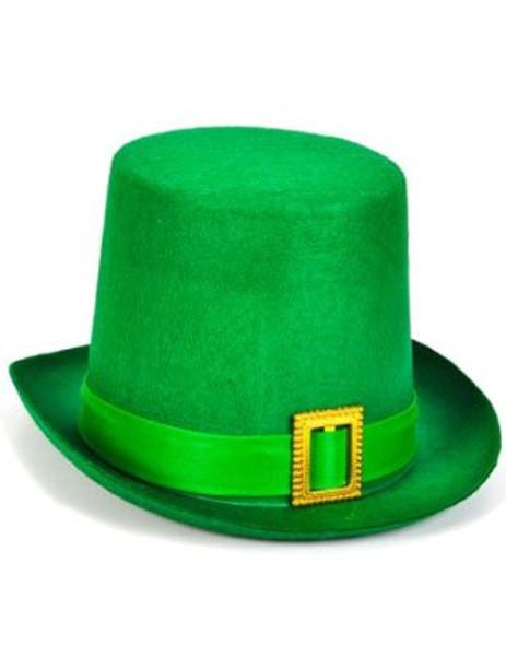Green Felt Top Hat with Buckle Leprechaun Hat St Patricks 5856