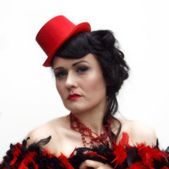 Red Mini Top Hat with Clips 5882