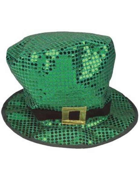 St Patricks Green Sequin Leprechaun Short Top Hat 5887