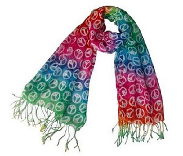 Rainbow Peace Sign Scarf 2017
