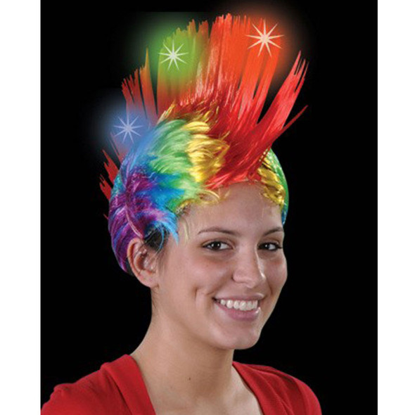 Led Rainbow Mohawk Wig 6070
