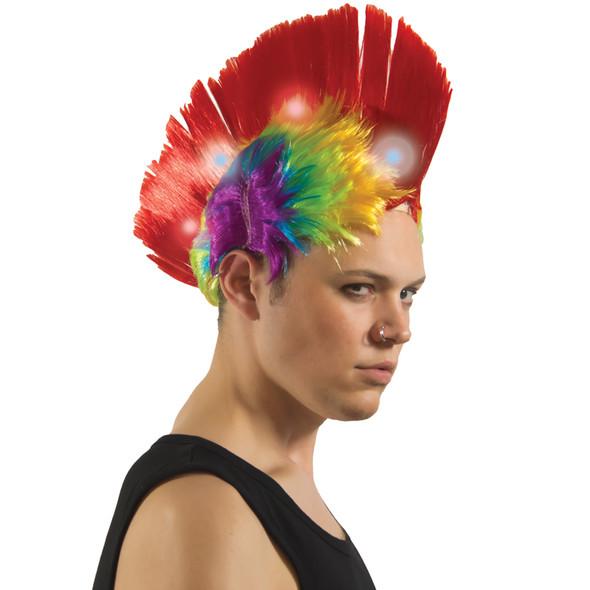 Led Rainbow Mohawk Wig 6070