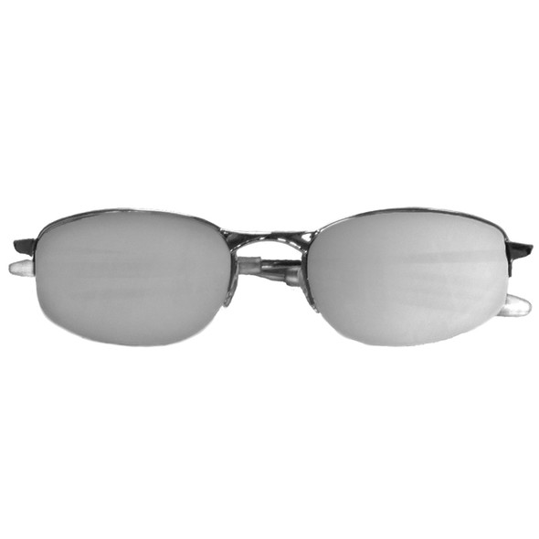 Sports Sunglasses Black Mirror Metal Silver Half Frame/Smoke Lens 1126