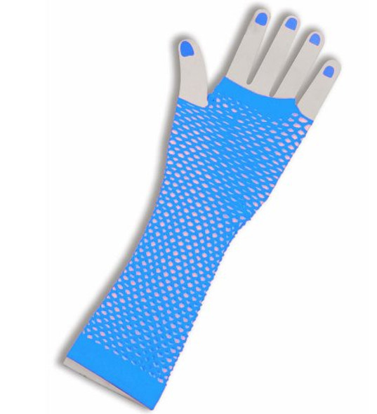 80's Long Fishnet Gloves - Turquoise 1244