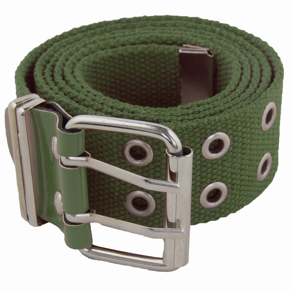 Olive Canvas Two Hole Silver Grommet Belt 2284-2287