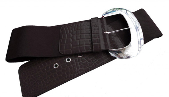 "Elastic Stretch Belt Embossed Black 3"" Wide Cinch Croco 2830"