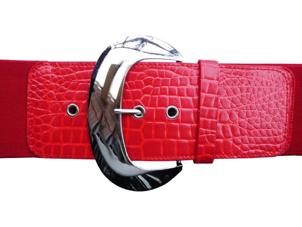 "Red 3"" Wide Cinch Croco Embossed Elastic Stretch Belt 2832"