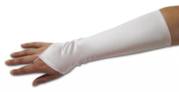 Ivory Satin Gauntlet Fingerless Gloves 12 PACK 5085