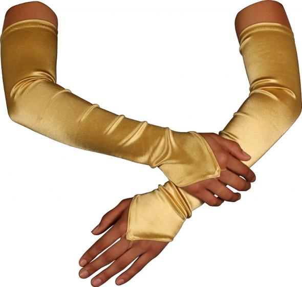 """Gold Satin Gauntlet Fingerless Gloves 18"""" 12 PACK 5086"""