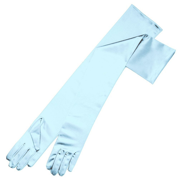 "Light Blue Satin Opera Gloves 23"" 5103"
