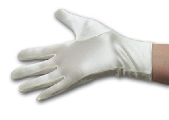 "Short Satin Gloves Ivory 9"" 5107"