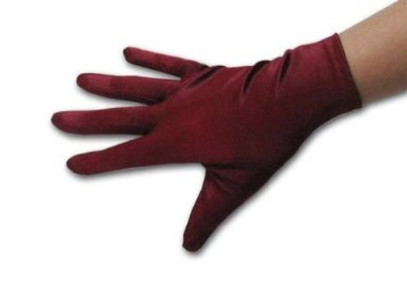 "Maroon Short Satin Gloves 9"" 5108"