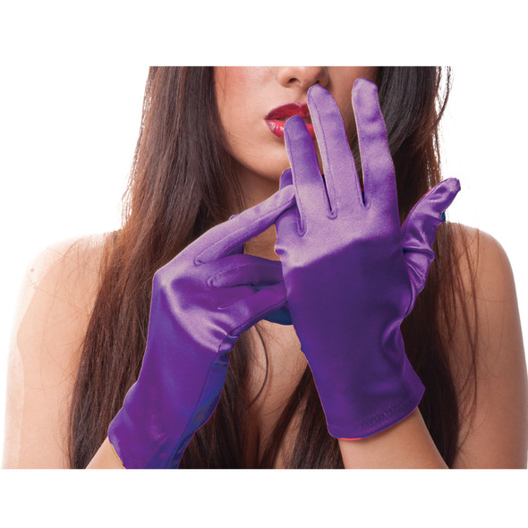 "Purple Short Satin Gloves 9"" 5112"