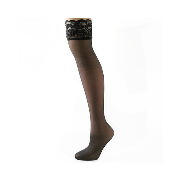 Black Sheer Thigh Highs with Lace Top 8029 12 PACK