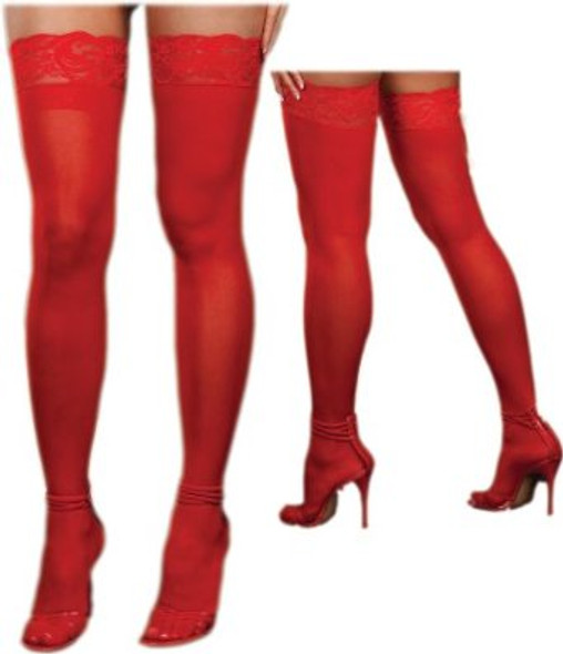 Red Stockings Sheer Lace Top with Back Seam 8030