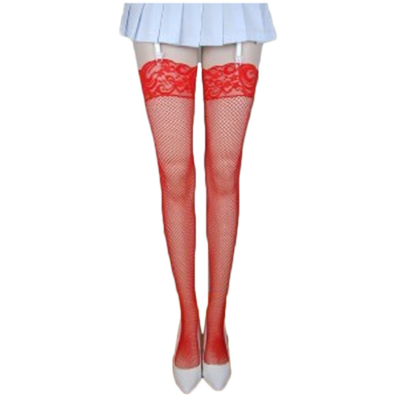 Red Fishnet Thigh High Stockings with Lace Top 8034