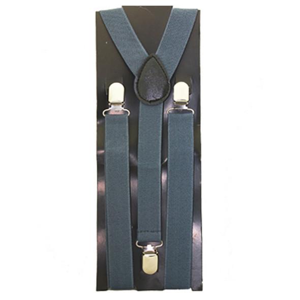 Grey Suspenders   Elastic Clip On 1281